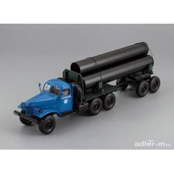 DIP MODELS 115704 ZIL-157/TV-5 Truck with trailer for delivery big pipes (Blue)