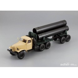 DIP MODELS 115705 ZIL-157/TV-5 Truck with trailer for delivery big pipes (Beige)