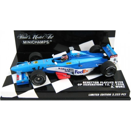 MINICHAMPS 430980076 BENETTON PLAYLIFE B198 GP SILVERSTONE 1998 WURZ 1.43