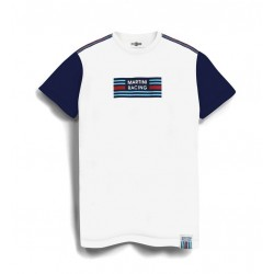 TSHIRT Martini Racing Shoulder Stripe Blanc Manche Bleu