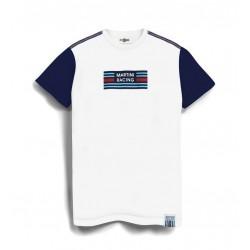 TSHIRT Martini Racing Shoulder Stripe Blanc Manche Bleu