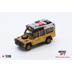 MINI GT MGT000108-R LAND ROVER Defender 110 Vainqueur Camel Trophy 1989 1.64
