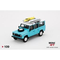 MINI GT MGT00109 LAND ROVER Defender 110 Light Blue w/ Surfboard 1/64