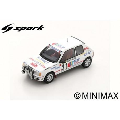 SPARK S9453 PEUGOET 205 GTI N°21 3ème Rallye Monte Carlo 1988 Jean-Pierre Ballet - Marie-Christine Lallement