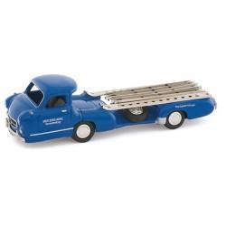 BUB 07100 MERCEDES BENZ CAR TRANSPORTER TRUCK 1954 BLUE 1.87